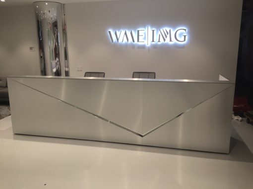 Brushed and Polished Metal Reception Desk
