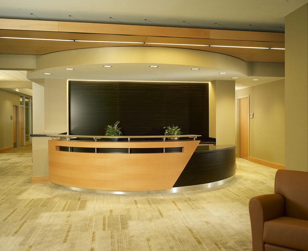 Beech and Ebonized Wood Reception Desk