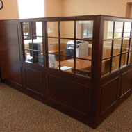 bank admin area with traditional walnut panels