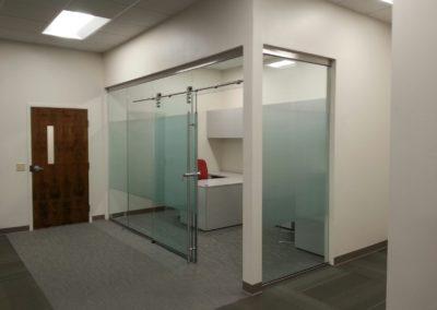 glass walls with sliding door