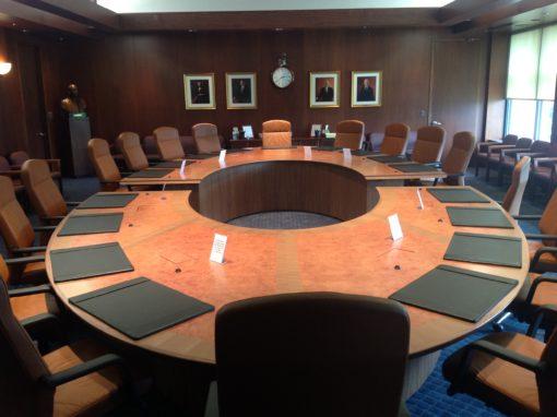 Makore Burl Elliptical Table