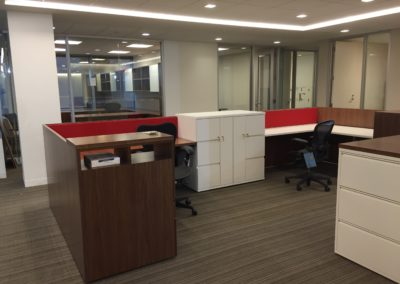 walnut and laminate admin stations
